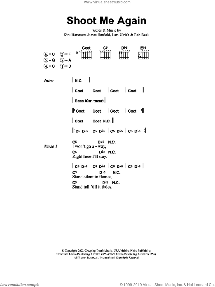 Shoot Me Again sheet music for guitar (chords) by Bob Rock, Metallica, James Hetfield and Lars Ulrich. Score Image Preview.