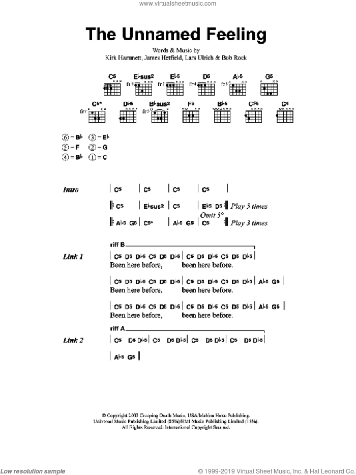 The Unnamed Feeling sheet music for guitar (chords) by Metallica, intermediate. Score Image Preview.