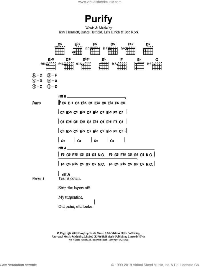 Purify sheet music for guitar (chords) by Metallica, intermediate guitar (chords). Score Image Preview.