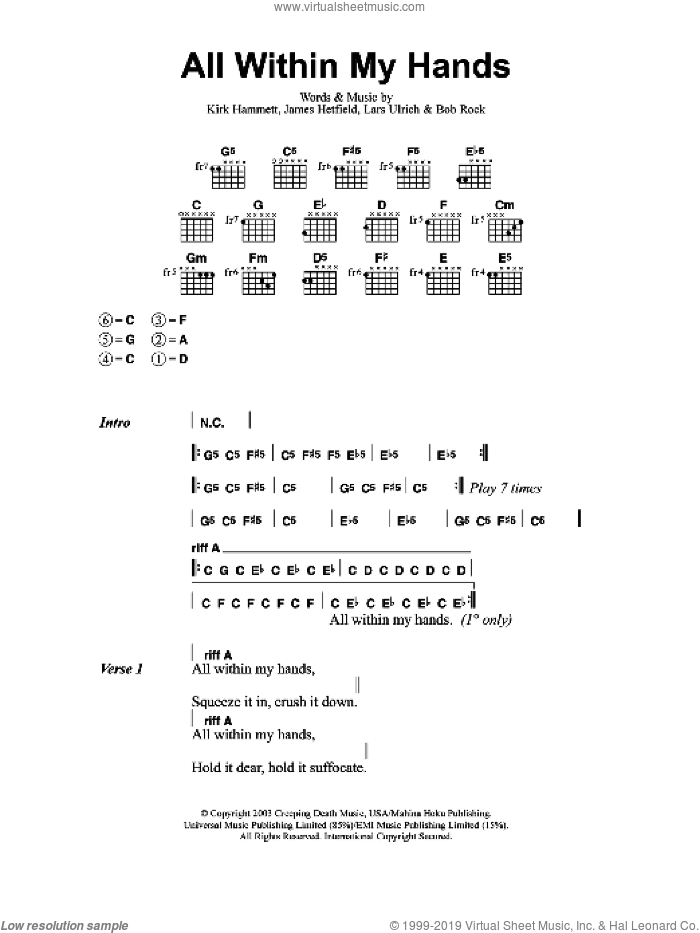 All Within My Hands sheet music for guitar (chords) by Metallica, Bob Rock, James Hetfield, Kirk Hammett and Lars Ulrich, intermediate. Score Image Preview.