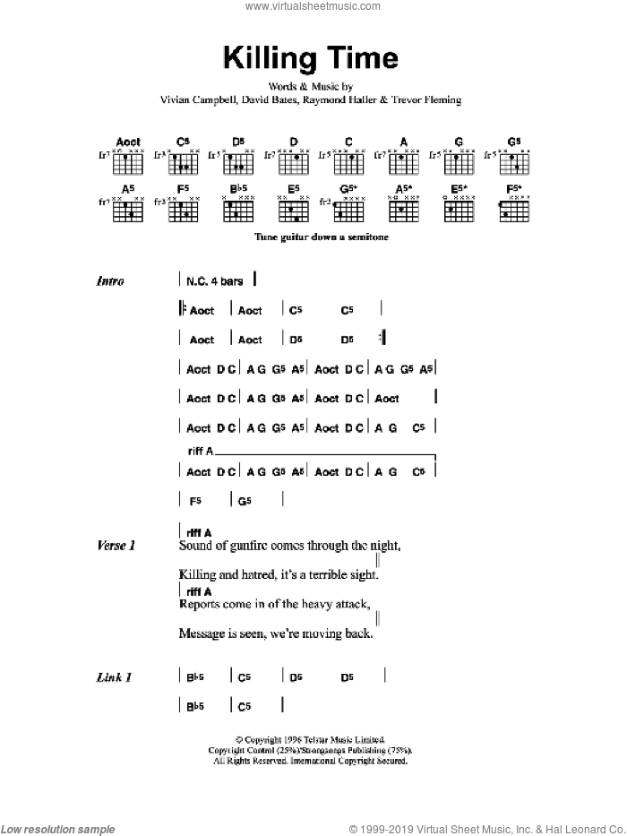 Killing Time sheet music for guitar (chords) by David Bates, Metallica and Vivian Campbell. Score Image Preview.