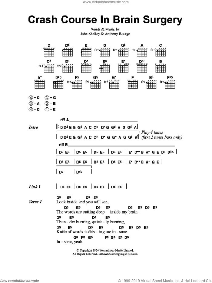 Crash Course In Brain Surgery sheet music for guitar (chords) by Metallica. Score Image Preview.