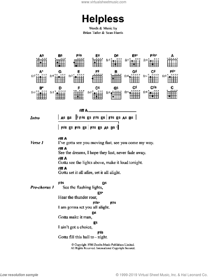 Helpless sheet music for guitar (chords) by Brian Tatler