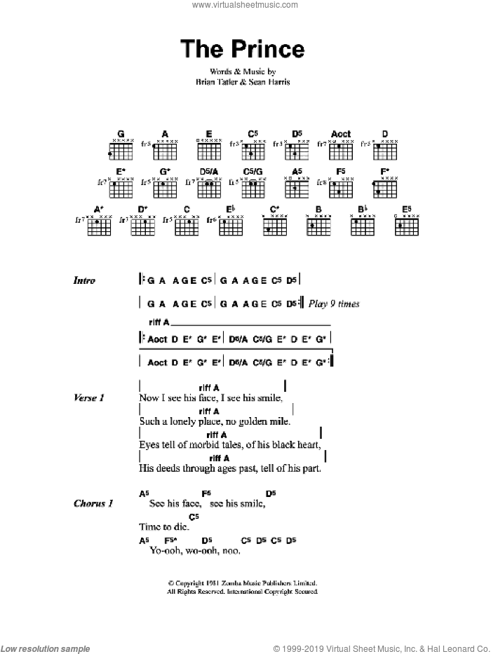The Prince sheet music for guitar (chords) by Metallica, intermediate guitar (chords). Score Image Preview.