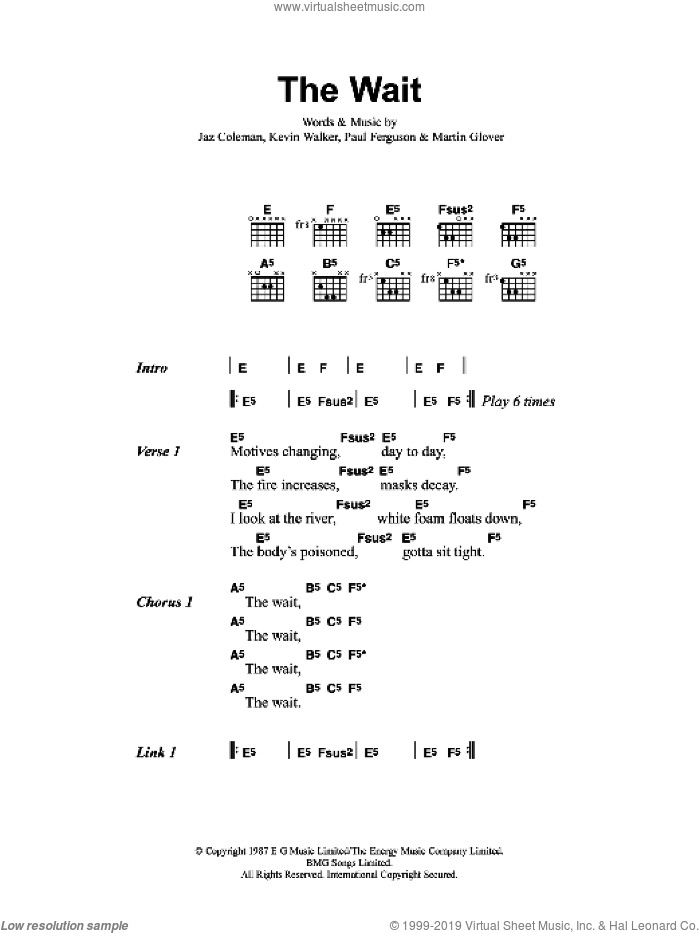 The Wait sheet music for guitar (chords) by Jaz Coleman, Metallica and Paul Ferguson. Score Image Preview.