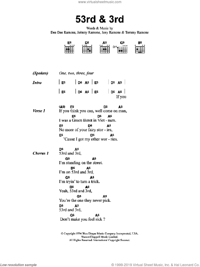 53rd And 3rd sheet music for guitar (chords, lyrics, melody) by Dee Dee Ramone