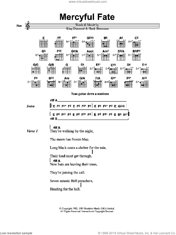 Mercyful Fate sheet music for guitar (chords) by Metallica, Hank Shermann and King Diamond, intermediate. Score Image Preview.