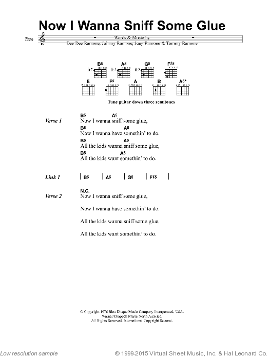 Now I Wanna Sniff Some Glue sheet music for guitar (chords, lyrics, melody) by Douglas Calvin