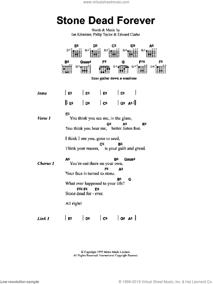 Stone Dead Forever sheet music for guitar (chords) by Metallica, Edward Clarke, Ian Kilmister and Philip Taylor, intermediate. Score Image Preview.