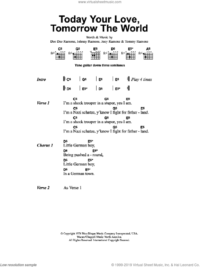 Today Your Love, Tomorrow The World sheet music for guitar (chords) by Metallica, Douglas Calvin, Jeffrey Hyman, John Cummings and Thomas Erdelyi, intermediate skill level