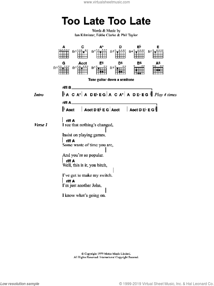 Too Late, Too Late sheet music for guitar (chords) by Metallica, Edward Clarke, Ian Kilmister and Phil Taylor, intermediate