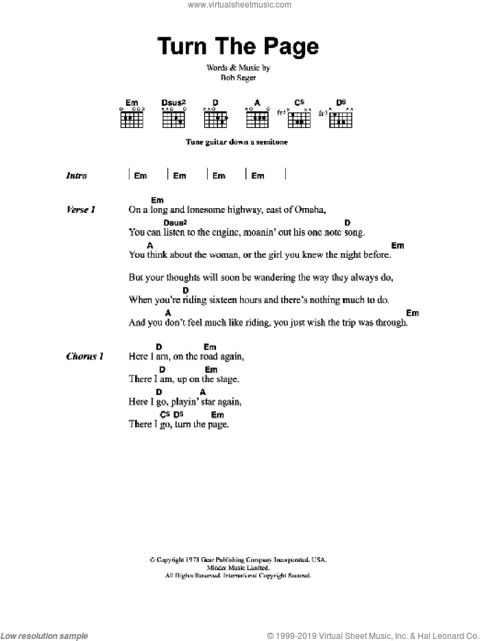 Turn The Page sheet music for guitar (chords) by Metallica and Bob Seger, intermediate skill level