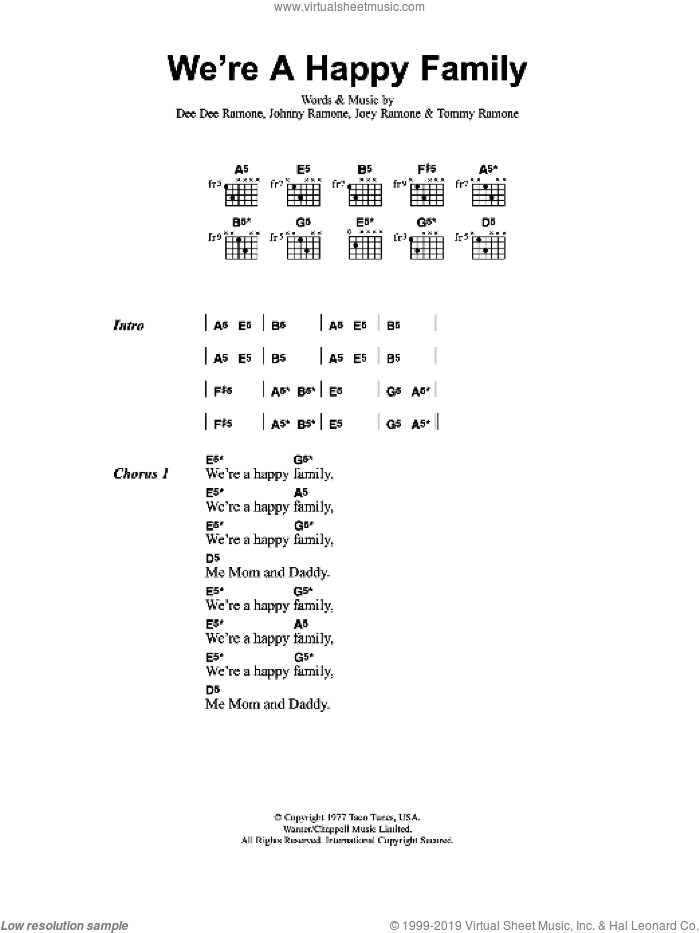 We're A Happy Family sheet music for guitar (chords) by Metallica, Dee Dee Ramone, Joey Ramone, Johnny Ramone and Tommy Ramone, intermediate. Score Image Preview.