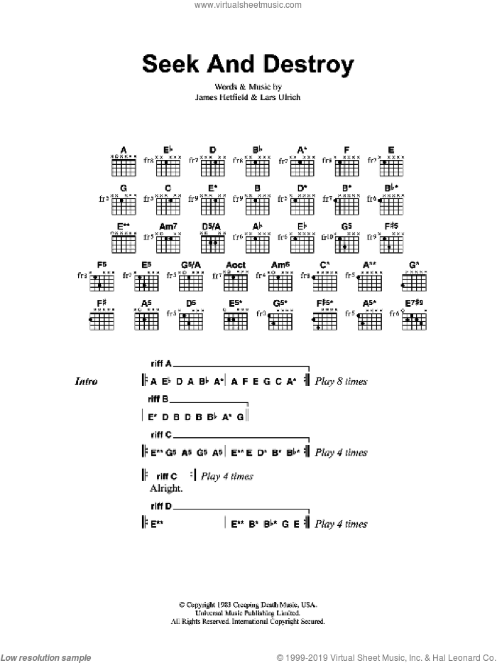 Metallica Seek And Destroy Sheet Music For Guitar Chords
