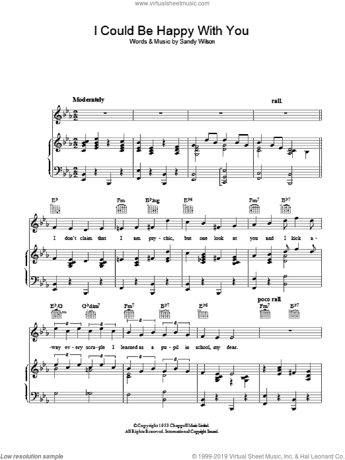 I Could Be Happy With You sheet music for voice, piano or guitar by Sandy Wilson, intermediate skill level