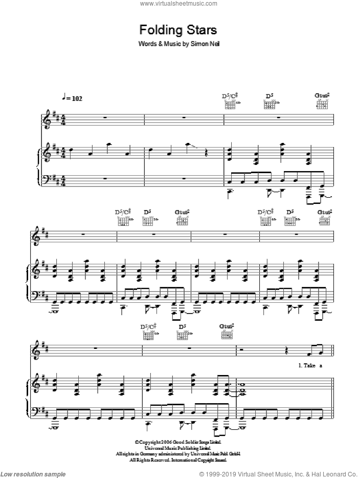 Folding Stars sheet music for voice, piano or guitar by Simon Neil. Score Image Preview.