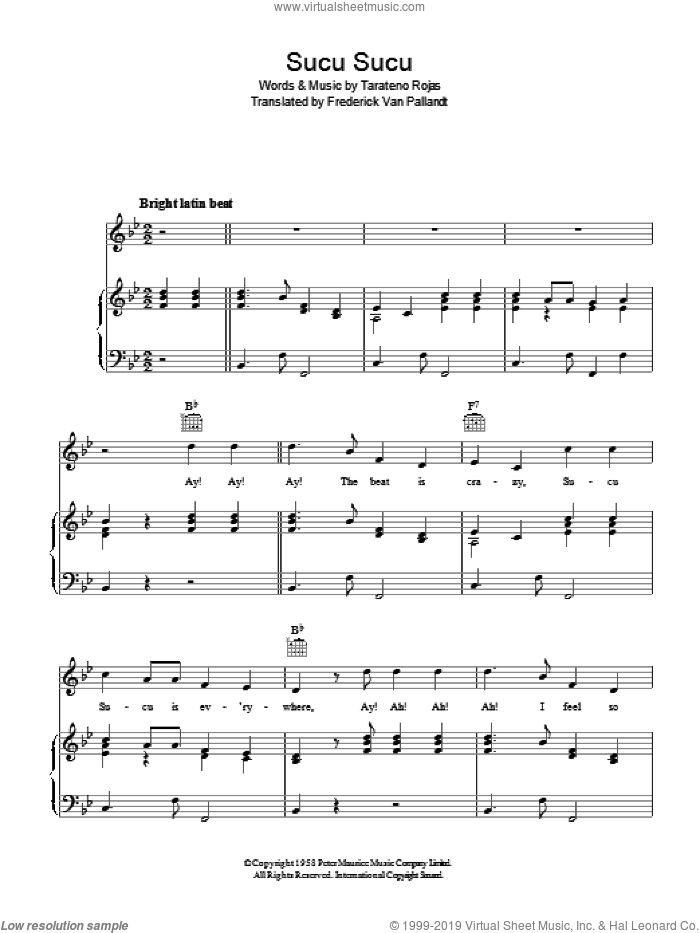 Sucu Sucu sheet music for voice, piano or guitar by Tarateno Rojas and Frederick Van Pallandt, intermediate. Score Image Preview.