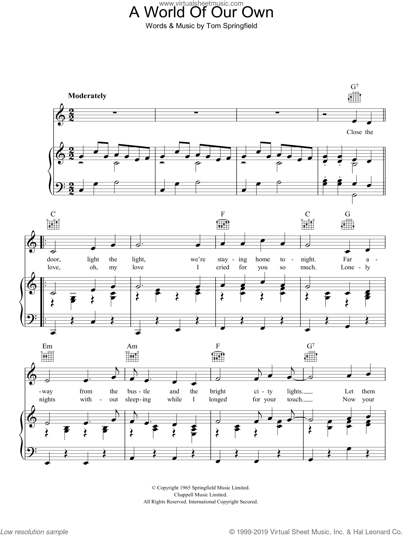 A World Of Our Own sheet music for voice, piano or guitar by Tom Springfield