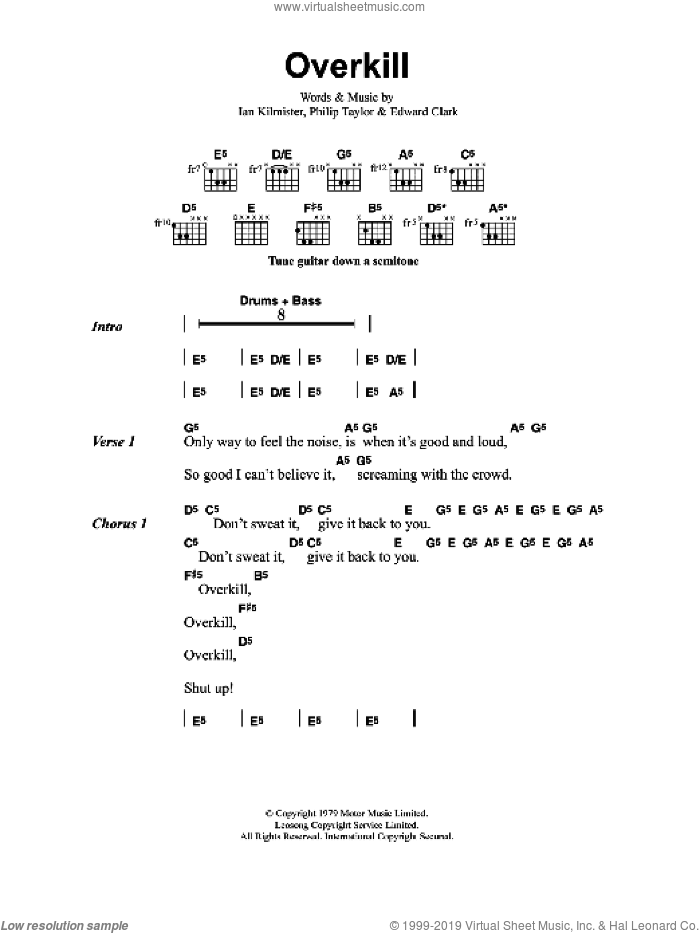 Overkill sheet music for guitar (chords) by Metallica, Edward Clark, Ian Kilmister and Philip Taylor, intermediate skill level