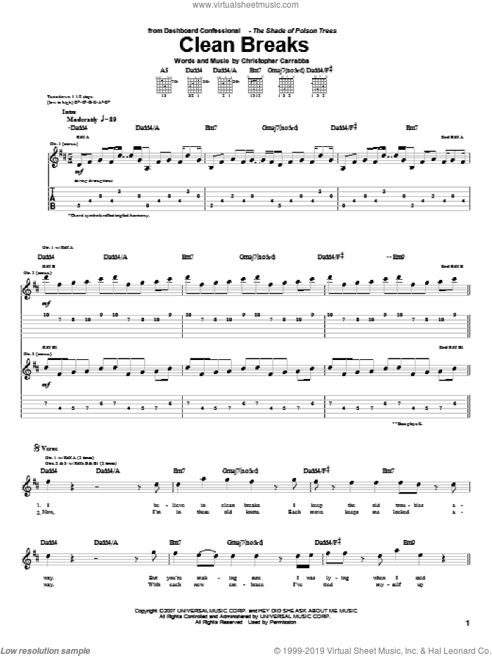 Clean Breaks sheet music for guitar (tablature) by Chris Carrabba and Dashboard Confessional. Score Image Preview.