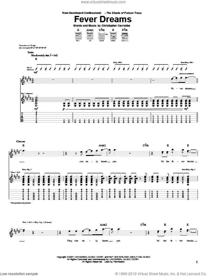 Fever Dreams sheet music for guitar (tablature) by Dashboard Confessional, intermediate guitar (tablature). Score Image Preview.
