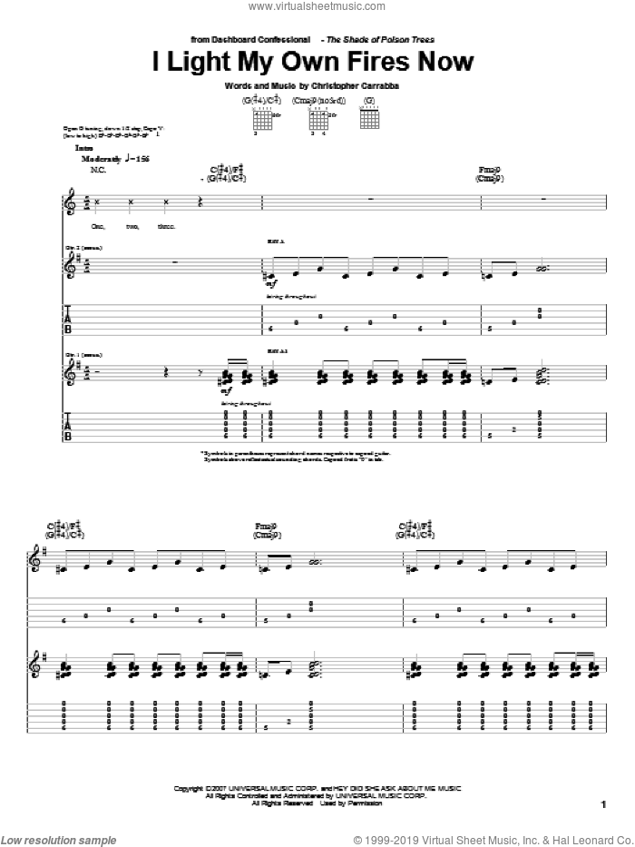 I Light My Own Fires Now sheet music for guitar (tablature) by Dashboard Confessional and Chris Carrabba, intermediate. Score Image Preview.