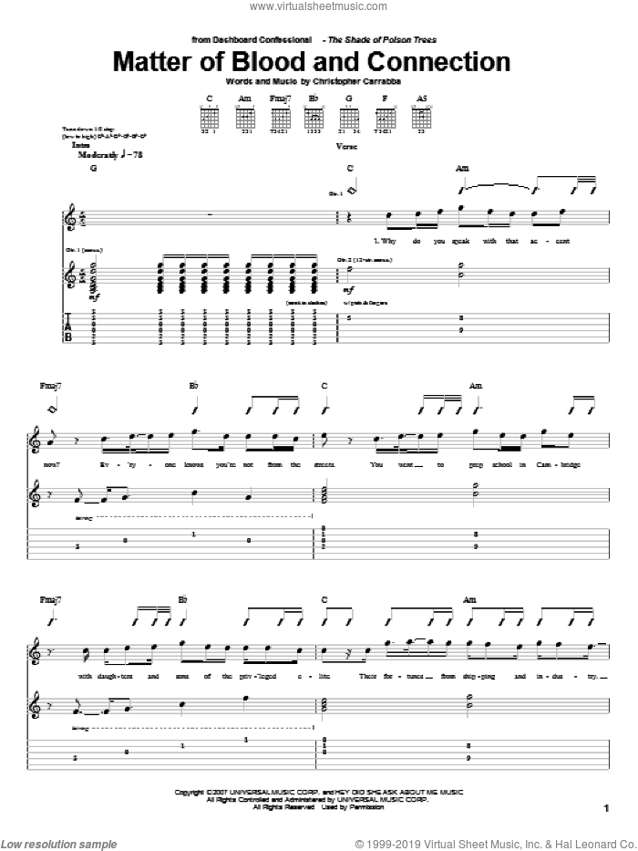 Matter Of Blood And Connection sheet music for guitar (tablature) by Chris Carrabba