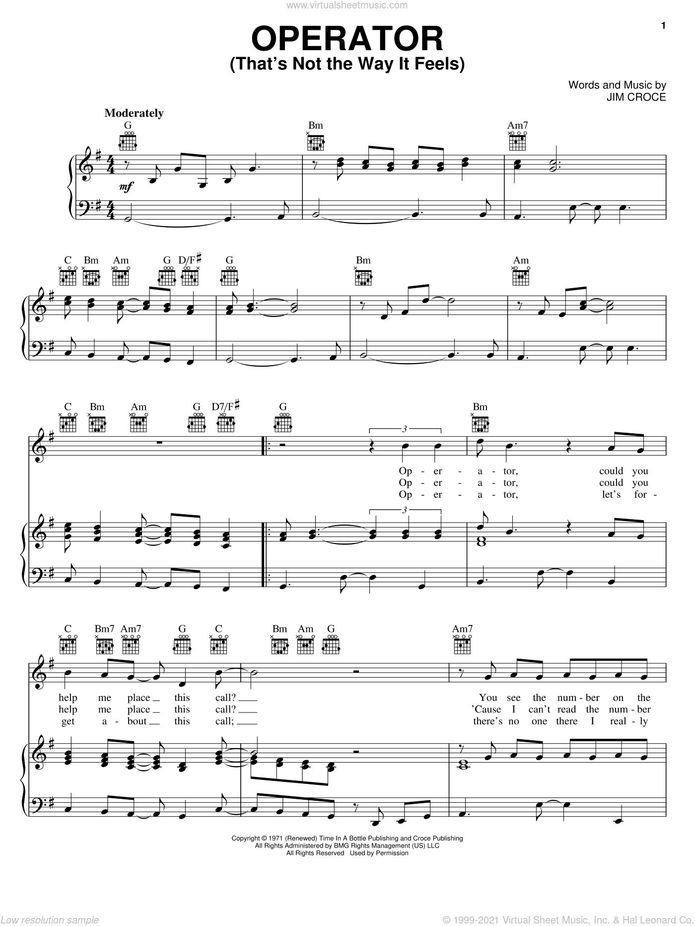 Operator (That's Not The Way It Feels) sheet music for voice, piano or guitar by Jim Croce, intermediate skill level