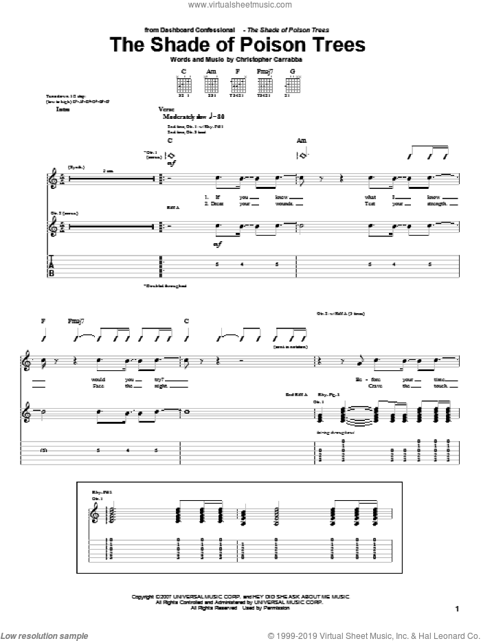 The Shade Of Poison Trees sheet music for guitar (tablature) by Chris Carrabba and Dashboard Confessional. Score Image Preview.