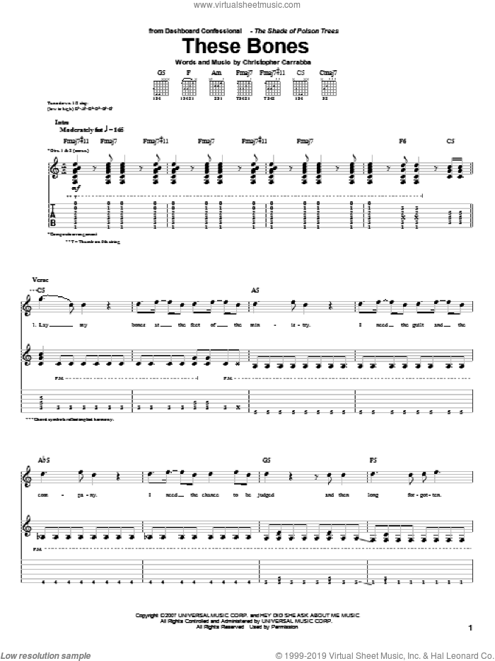 These Bones sheet music for guitar (tablature) by Dashboard Confessional. Score Image Preview.
