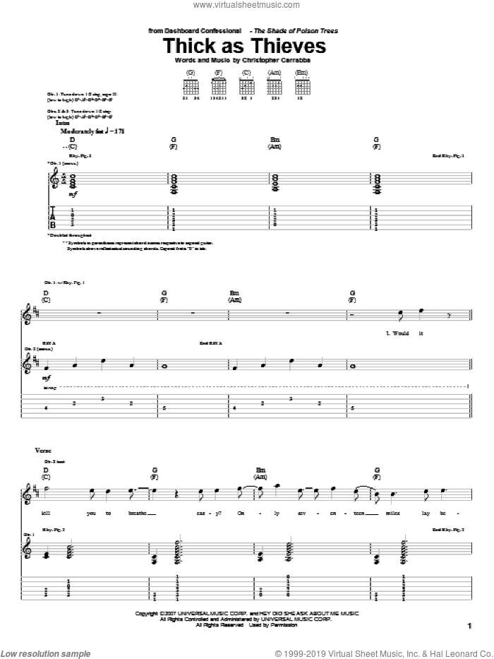 Thick As Thieves sheet music for guitar (tablature) by Chris Carrabba