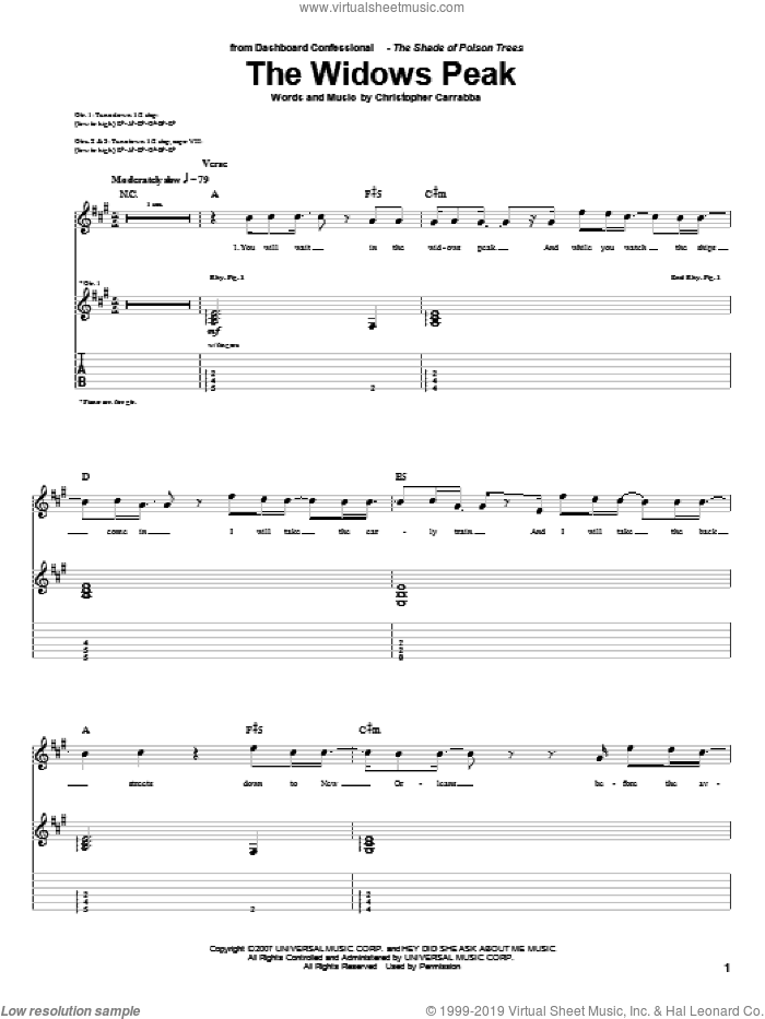 The Widows Peak sheet music for guitar (tablature) by Dashboard Confessional, intermediate guitar (tablature). Score Image Preview.