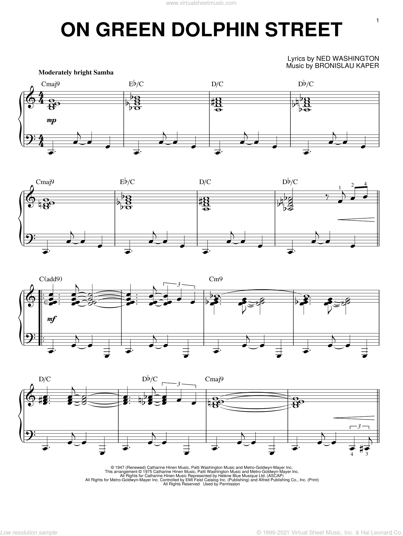 On Green Dolphin Street sheet music for piano solo by Miles Davis, Bill Evans, Bronislau Kaper and Ned Washington, intermediate