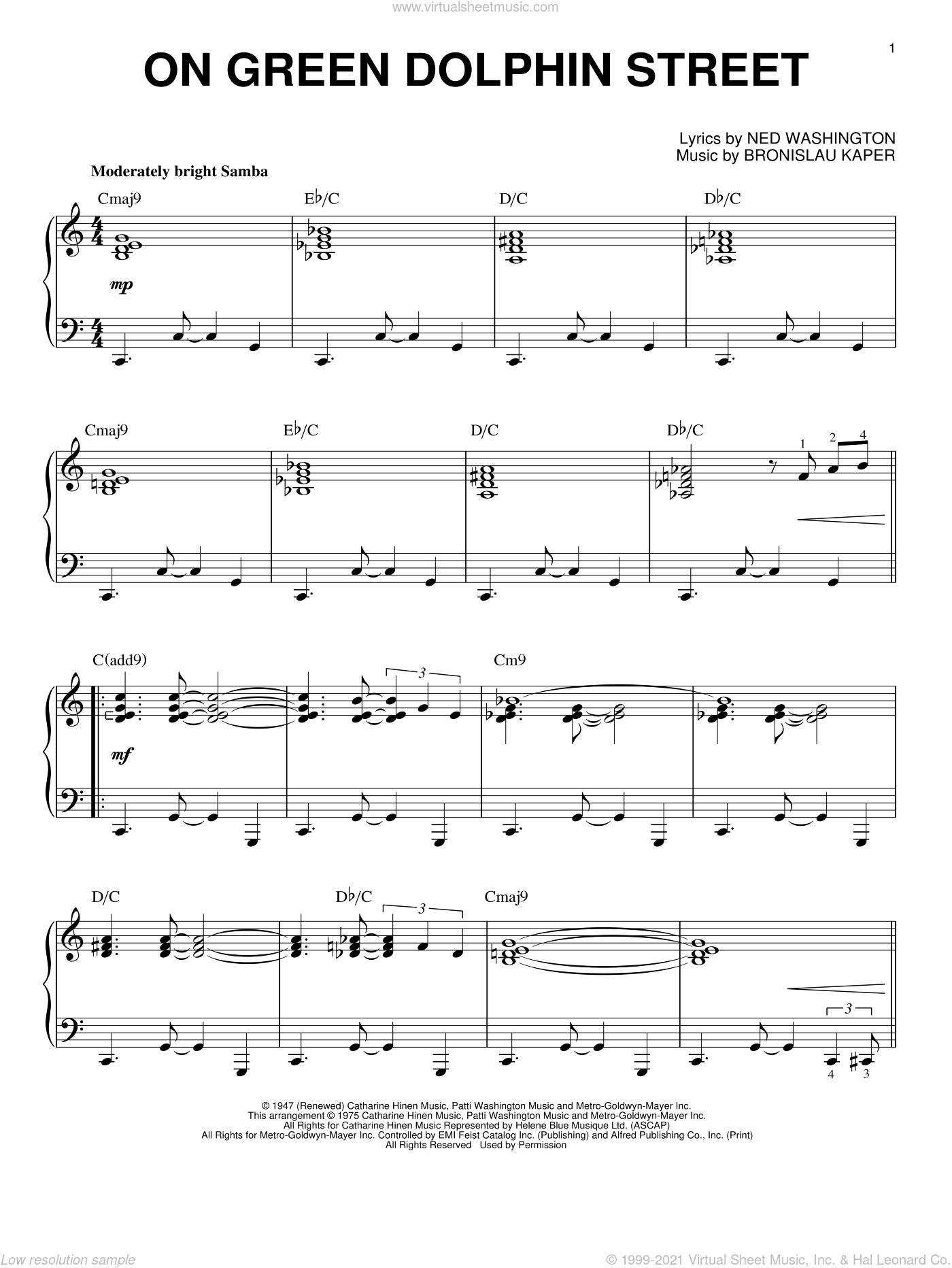 On Green Dolphin Street sheet music for piano solo by Miles Davis, Bill Evans, Bronislau Kaper and Ned Washington, intermediate skill level
