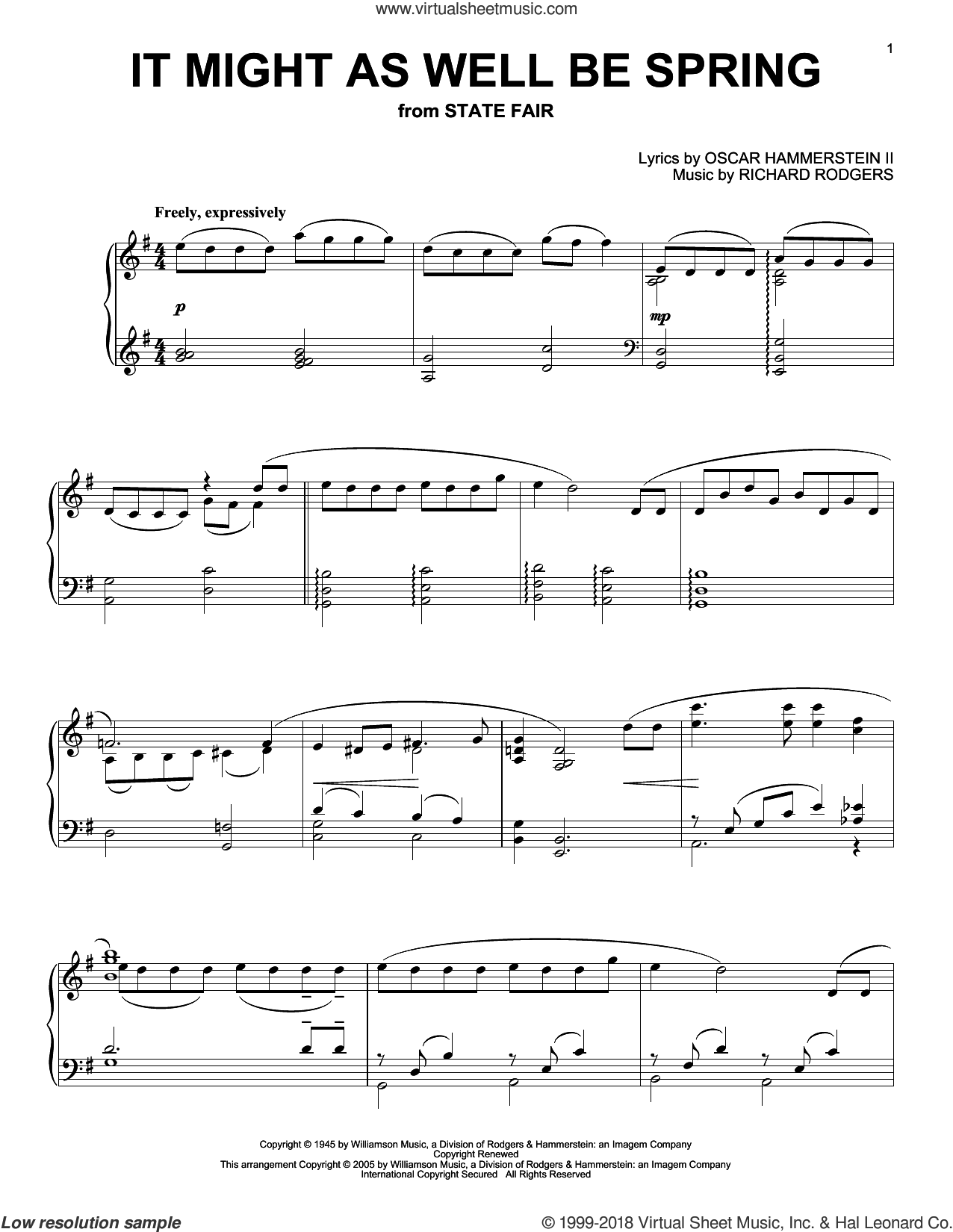 It Might As Well Be Spring sheet music for piano solo by Rodgers & Hammerstein, State Fair (Musical), Oscar II Hammerstein and Richard Rodgers, intermediate skill level