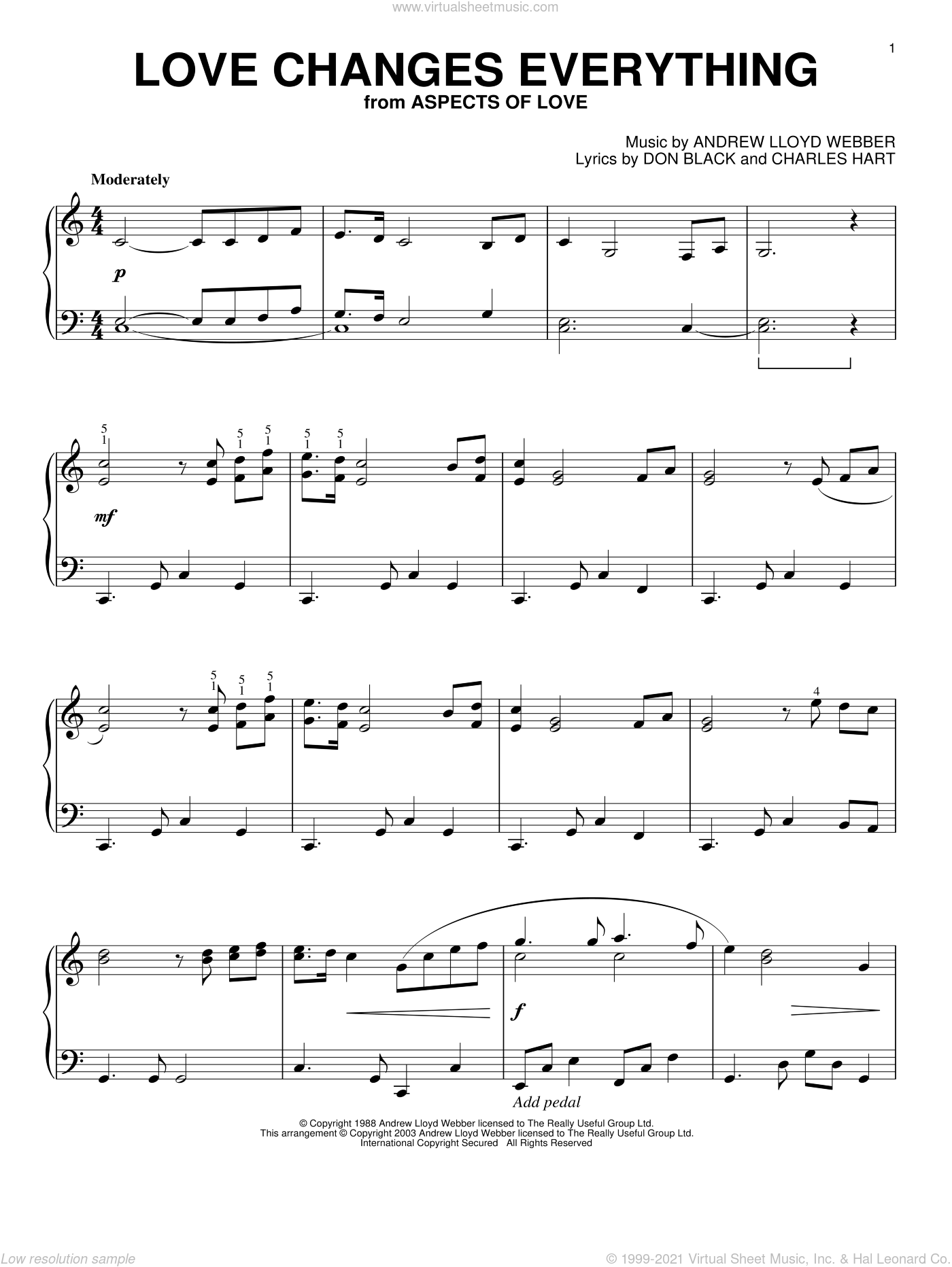 Love Changes Everything, (intermediate) sheet music for piano solo by Andrew Lloyd Webber, Aspects Of Love (Musical), Charles Hart and Don Black, intermediate skill level