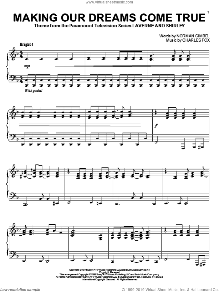 Making Our Dreams Come True sheet music for piano solo by Norman Gimbel and Charles Fox, intermediate skill level