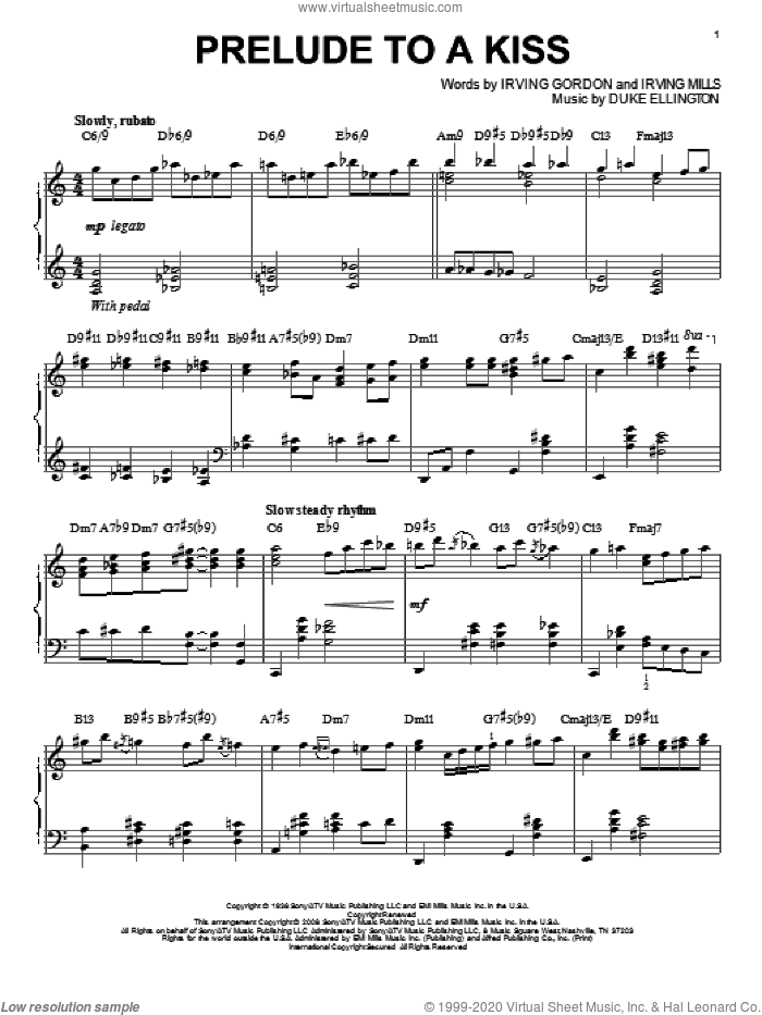 Prelude To A Kiss sheet music for piano solo by Irving Mills, Duke Ellington and Irving Gordon. Score Image Preview.