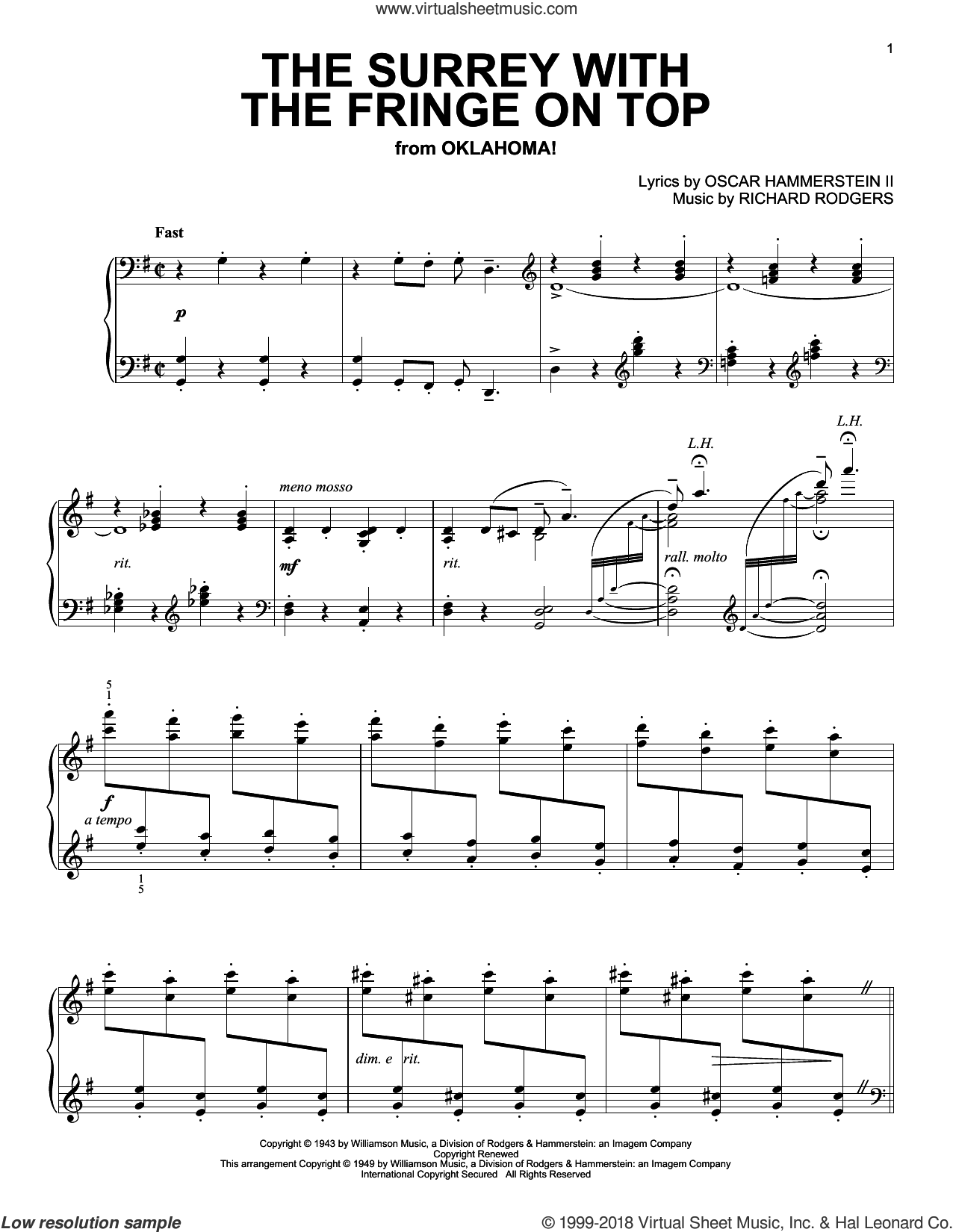The Surrey With The Fringe On Top, (intermediate) sheet music for piano solo by Rodgers & Hammerstein, Oklahoma! (Musical), Oscar II Hammerstein and Richard Rodgers, intermediate skill level