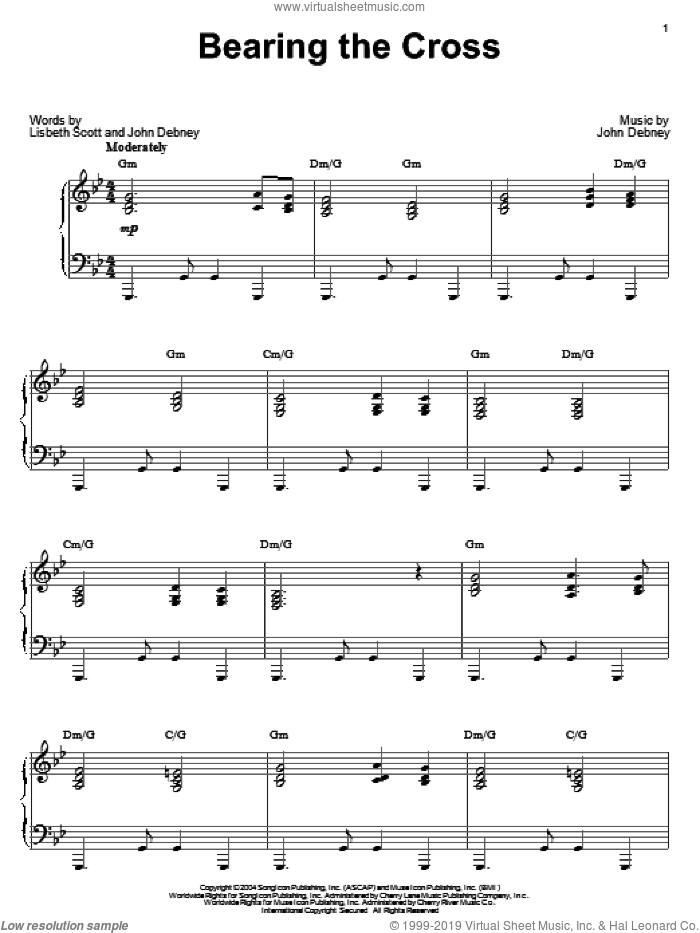 Bearing The Cross sheet music for piano solo by John Debney, The Passion Of The Christ (Movie) and Lisbeth Scott, intermediate skill level