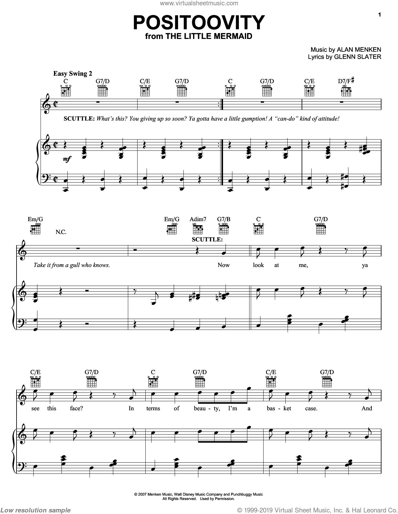 Positoovity sheet music for voice, piano or guitar by Howard Ashman, Alan Menken and Glenn Slater. Score Image Preview.