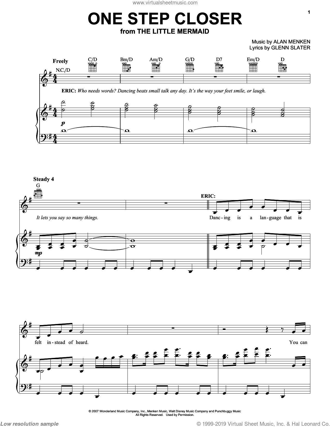 One Step Closer sheet music for voice, piano or guitar by Alan Menken, Glenn Slater and Howard Ashman, intermediate. Score Image Preview.
