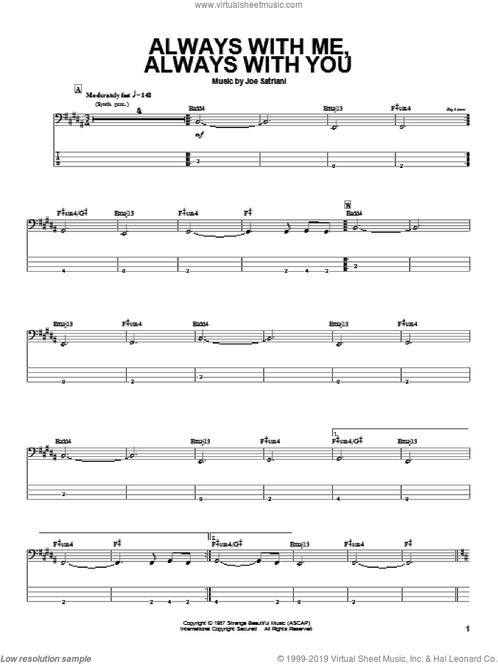 Always With Me, Always With You sheet music for bass (tablature) (bass guitar) by Joe Satriani. Score Image Preview.