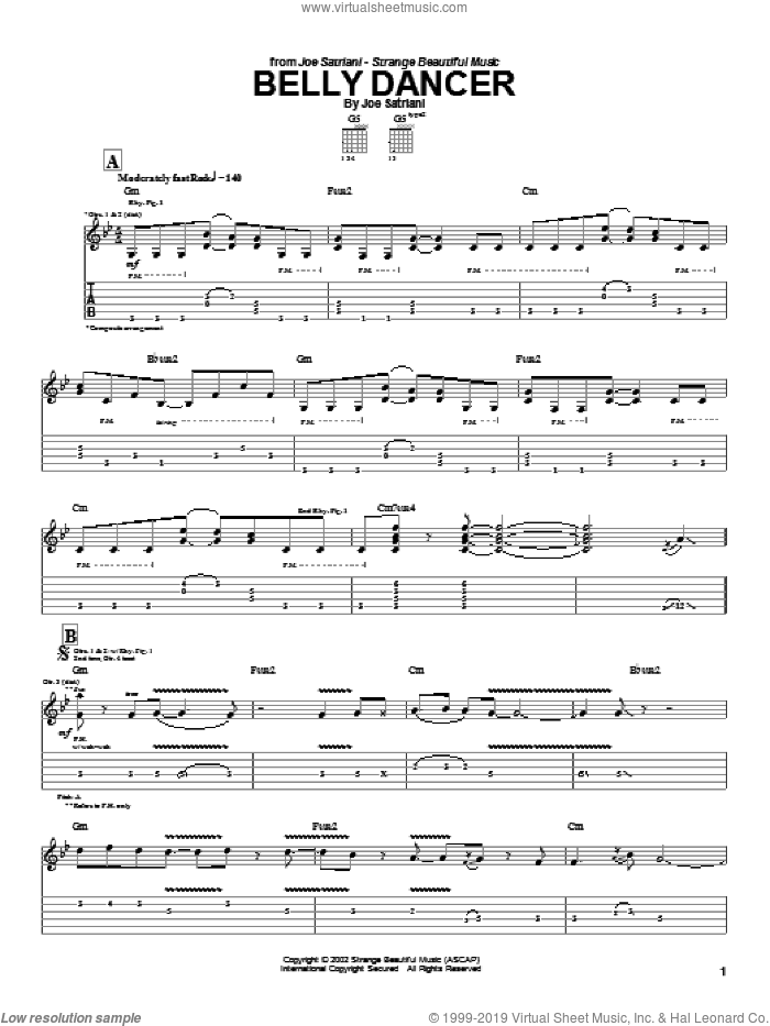 Belly Dancer sheet music for guitar (tablature) by Joe Satriani, intermediate skill level