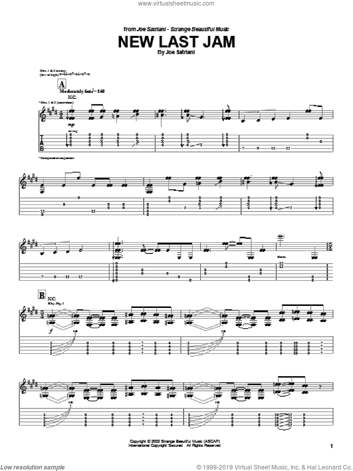 New Last Jam sheet music for guitar (tablature) by Joe Satriani, intermediate. Score Image Preview.