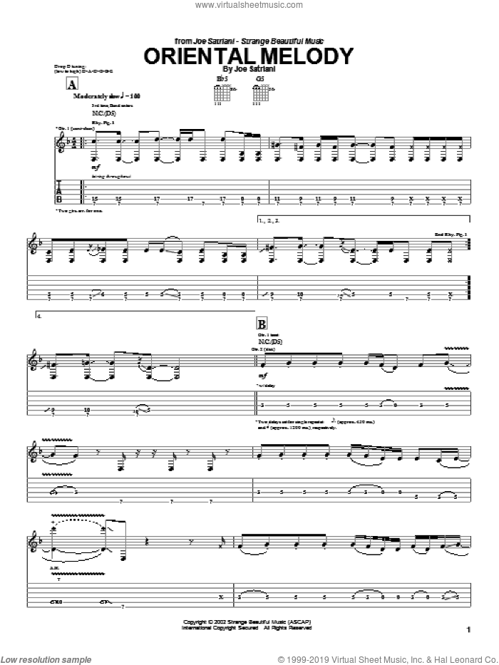 Oriental Melody sheet music for guitar (tablature) by Joe Satriani. Score Image Preview.