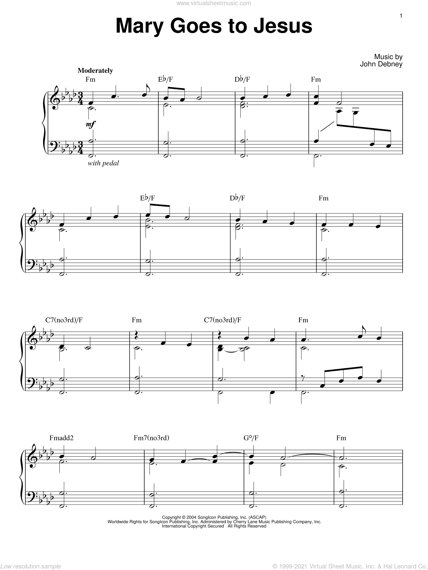 Mary Goes To Jesus sheet music for piano solo by John Debney. Score Image Preview.