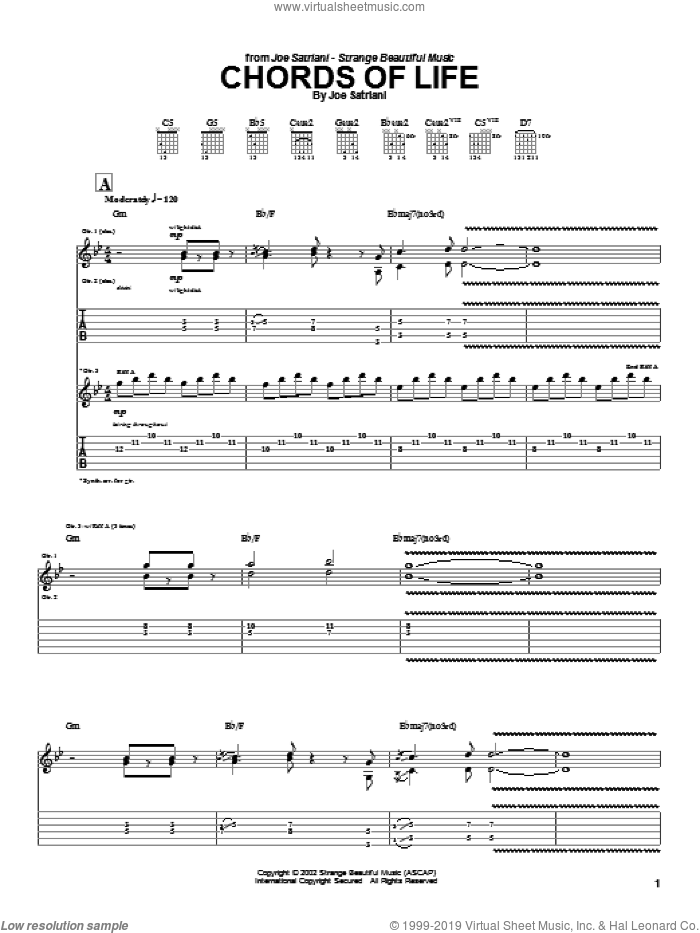 Chords Of Life sheet music for guitar (tablature) by Joe Satriani, intermediate