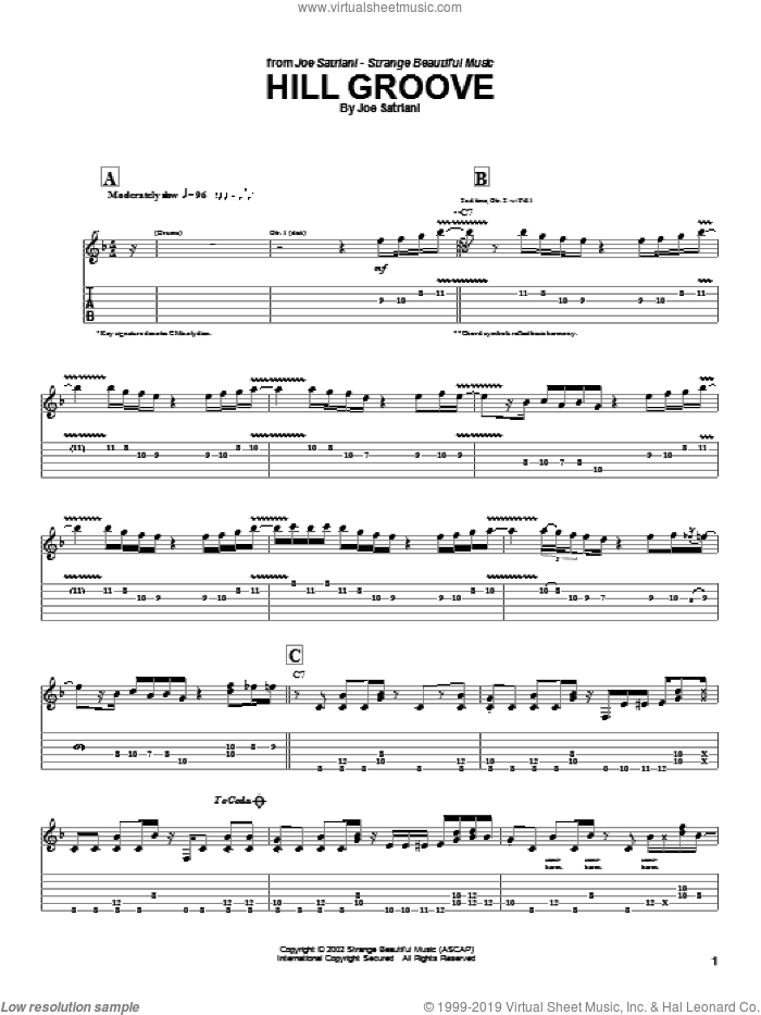 Hill Groove sheet music for guitar (tablature) by Joe Satriani, intermediate skill level