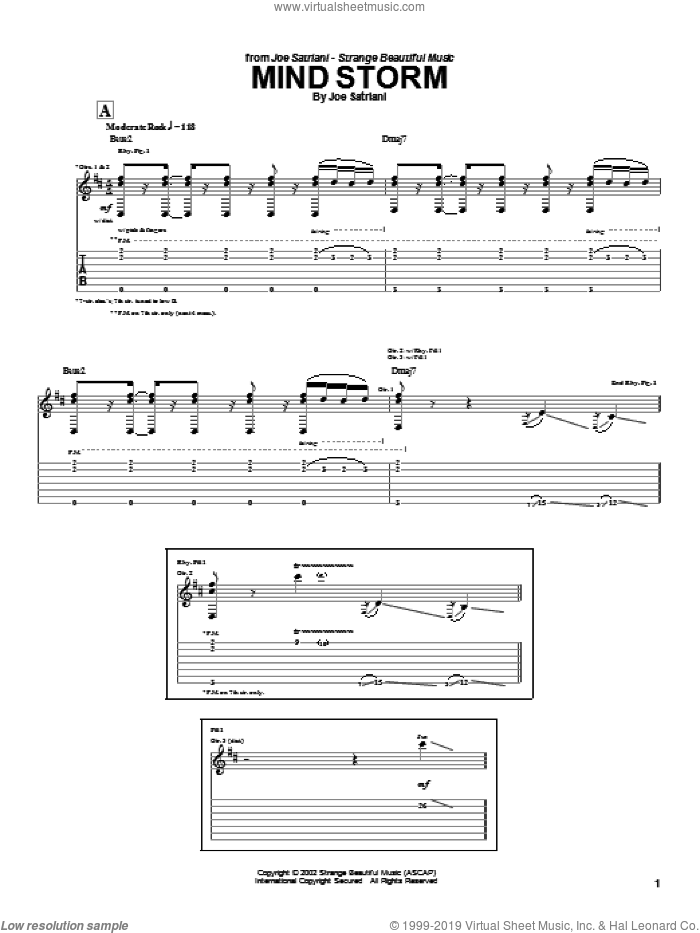 Mind Storm sheet music for guitar (tablature) by Joe Satriani. Score Image Preview.